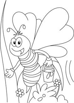 miss honey bee on her tweet coloring pages - Honey Bee Coloring Pages Kids