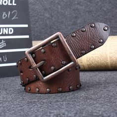 Online Shop Genuine leather fashionable casual male punk belt with rivets,high quality new arrival cowhide Faux Leather Belts, Leather Gifts, Studded Belt, Western Belts, Leather Projects, Brown Belt, Leather Keychain, Leather Accessories, Leather Working