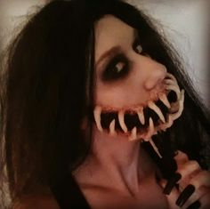 """""""She seemed so sad so I gave her a smile that would last forever"""" -American horror story  Demon creature makeup #halloween #horror #scary"""