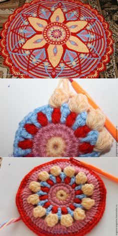 New Crochet Granny Square Pattern Mandalas Photo Tutorial Ideas Motif Mandala Crochet, Crochet Motifs, Granny Square Crochet Pattern, Crochet Stitches Patterns, Crochet Round, Crochet Squares, Crochet Crafts, Crochet Yarn, Crochet Projects