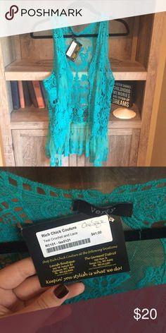 Boutique lace vest Turquoise boutique lace vest Jackets & Coats Vests