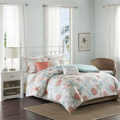 For a coastal update to your space, the Pebble Beach Duvet Cover Set is perfect for you! Printed on 210 thread count cotton, the rich coral and teal colors play into the starfish and coral motifs for a textured look adding color to your space. Three decorative pillows use embroidery and fabric manipulation adding dimension to your top of bed. <br><br>A duvet cover is a protective cover for your comforter, most likely for your down comforter. Sometimes it's referred to as a comforter cover…