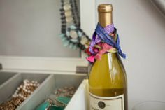 Use A Wine Bottle To Stack Your Hair Ties
