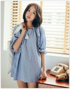 11.STREET - Elbow-Sleeve Frilled Striped Blouse Asian Fashion, Fashion Beauty, Korean Summer, Asian Design, Korean Outfits, Style Me, Summer Outfits, Cold Shoulder Dress, Clothes For Women