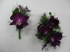 Dark purple dendrobium orchid corsage and boutonniere