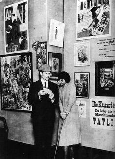 Raoul Hausmann & Hannah Höch at the opening of the First International Dada Fair held at the Otto Burchard Gallery in Berlin, 1920 Photo by Robert Sennecke Tristan Tzara, Photomontage, Cabaret, Hannah Höch, Berlin Spree, Dada Artists, Dada Collage, Hans Richter, Dada Movement
