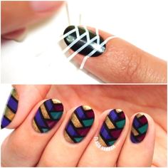 35 Fabulous Nail Art Designs With Playful Pretty Stripes #nails #stripes #designs #tape #diy #summer #vertical