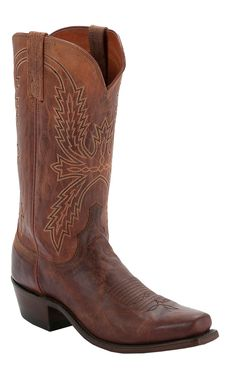 Lucchese® 1883™ Men's Peanut Brittle Tan Burnished Punchy Square Toe Cowboy Boots