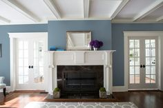 Blue Paint Ideas - Blue Paint Color by Family – Benjamin Moore's Normandy Via Benjamin Moore - Beige Living Room Paint, Neutral Living Room Colors, Family Room Colors, Room Wall Colors, Living Room Orange, Accent Walls In Living Room, Room Color Schemes, Family Room Design, Blue Family Rooms