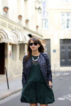 Emilie from The Brunette wearing her Comptoir des Cotonniers biker jacket