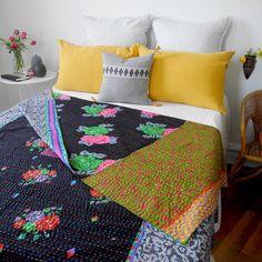 Black Flower Gudri Bed Cover, queen