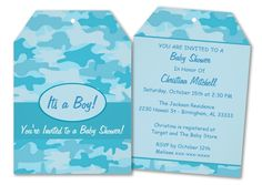 "Trendy camouflage in turquoise makes a great ""Its a Boy"" baby shower invitation. Also available in pink for girls. #itsaboy #boybabyshower #babyshowerinvitation #camouflage #camo #bluecamouflage"