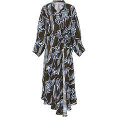 Apiece Apart Wild Waves Wrap Dress (8.346.255 IDR) ❤ liked on Polyvore featuring dresses, print, print wrap dress, pattern dress, tie belt, mixed print dress and wrap tie dress