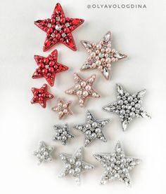 Crystal Embroidery, Bead Embroidery Jewelry, Beaded Jewelry, Brooches Handmade, Handmade Beads, Handmade Jewelry, Beaded Ornaments, Xmas Ornaments, Sequin Crafts