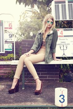Olive green cargo jacket + nude or tan pants + floral top