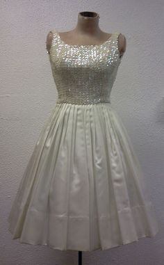 1960s White Satin and Sequin Dress   |  Featured in Cosmopolitan