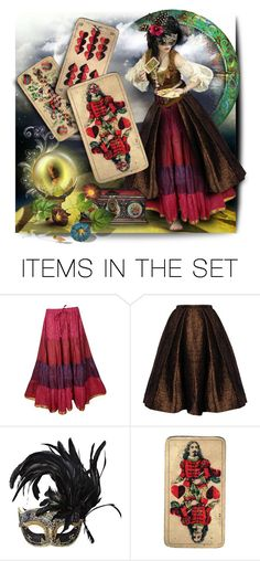 """""""unmask the future"""" by collagette ❤ liked on Polyvore featuring art, doll, Masquerade, gypsy, dollset and tarot"""