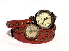 Leather watch bracelet - World map, 0196WLBC  from EgginEgg by DaWanda.com
