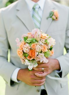 green peach and pale pink bouquet