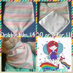www.facebook.com/TheRainbowPhairy87 Dribble bibs! variety of colours and patterns ready to post