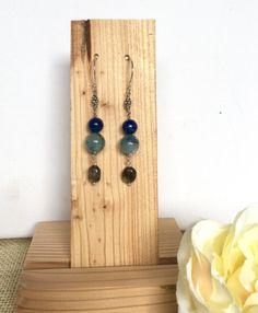 Blue earrings  Sterling silver earrings  by GreenGeckoJewellery