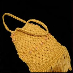 Hand made gold macrame bag purse with fringe by ForeverSexy Macrame Bag, Macrame Knots, Boho Bags, Crochet Bikini, Hand Sewing, Straw Bag, Purses And Bags, 1960s, Diy And Crafts