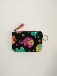 Small Zipper Pouch Coin Purse Earbud and Card Holder Purple and Aqua Medallion Print