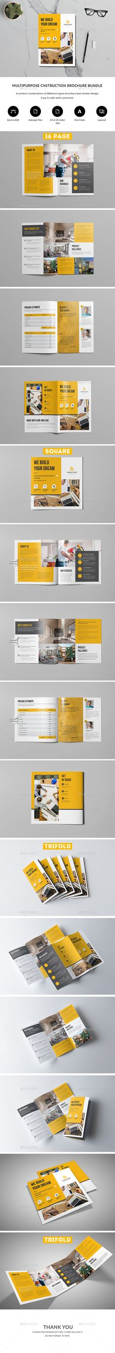 Construction Brochure Bundle #construction #business • Download ➝ https://graphicriver.net/item/construction-brochure-bundle/21310753?ref=pxcr