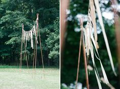 Different ways to make areas for hanging things. http://greenweddingshoes.com/hudson-valley-handmade-wedding-julianne-jason/
