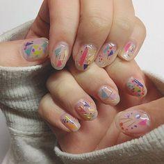 クリアネイル~~~ なんかうまく撮れたので、前のは消しました。 #セルフネイル #ネイル #セルフネイル部 #クリアネイル #ジェルネイル #カラフルネイル  #マスキングテープ #nail #gelnails #clearnails #selfnail  #colorful