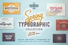 34 in 1 • Typographic Collection by Vintage Voyage Design Co. on @creativemarket