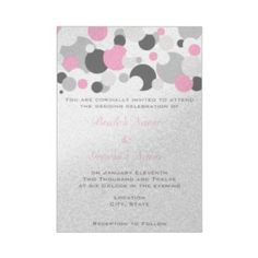 Champagne Bubbles Pink/Silver Personalized Announcements