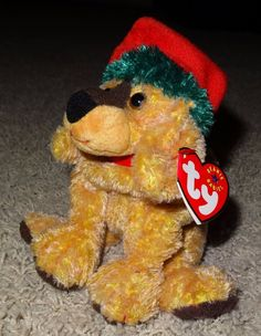 6ec5a51a3d8 TY Beanie Baby Jinglepup Brown Dog Christmas Red Santa Hat Retired 2000 -  TH  Ty