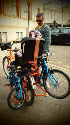 Yuba Mundo cargo bike with the girls two Islabikes strapped onto it for the ride home post park ride