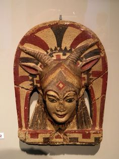 Etruscan roof terracota antefix with the goddess Juno Sospita,