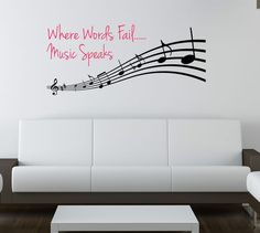 "NEW ""Music Speaks"" Wall Vinyl Decal for Living or Bedroom 5 Ft Long! What A Deal 