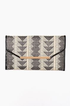 Woven Envelope Clutch ethnic black white printed 2015