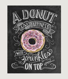 Donut Art Print Chalkboard Art Print Donut is by LilyandVal