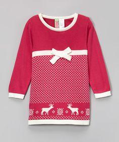 Another great find on #zulily! Fuchsia Reindeer Swing Dress - Infant, Toddler & Girls #zulilyfinds