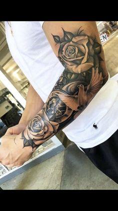 Half sleeve tattoo - Dragan Martinovic - tattoo old school tattoo arm tattoo tattoo tattoos tattoo antebrazo arm sleeve tattoo Half Sleeve Tattoos Forearm, Half Sleeve Tattoos For Guys, Half Sleeve Tattoos Designs, Full Sleeve Tattoos, Tattoo Designs Men, Roses Half Sleeve Tattoo, Sleeve Tattoo Men, Hand Tattoos For Men, Mens Half Sleeve