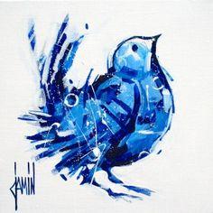 Blue bird - acrylique sur toile - 30x30cm - année 2015