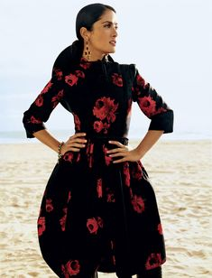 Salma Hayek mexican style, black and red dress with long sleeves. The Beauty Rules According to Salma Hayek: Here's What You Need to Know