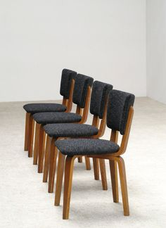 Cor Alons 4 multiplex plywood dinning chairs | 20th century Modern online gallery. Featuring a large and varied selection of quality vintage pieces | Shipping worldwide | http://www.furniture-love.com/furniture/