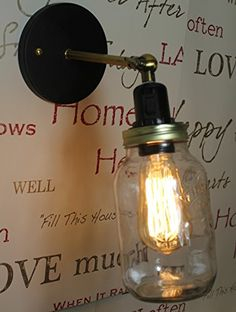Jam Jar Light Wall Lamp Kilner Vintage Retro Industrial Edison Filament Bulb Wall Light with a Switch and Free Bulb