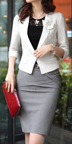 I like the style of all these pieces, but I really like placement of the colors (a gray skirt, a black shirt, and a white blazer)