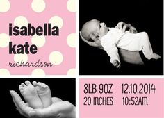 Pink Baby Announcement Dots Baby Announcement