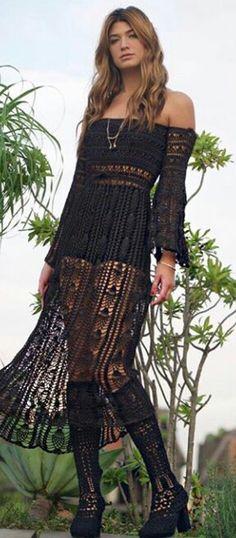 vestido tejido al crochet / ganchillo