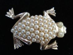 Vintage 1960s Frog Pin Pearl Critter Pin 201411 by bycinbyhand, $18.00