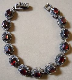 Sterling Silver Bracelet set with Garnets and Marcasite