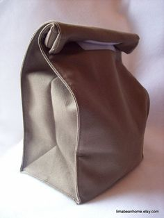 Reusable canvas lunch bag-- looks like a brown paper lunch sack--FREE SHIPPING. $17.00, via Etsy.